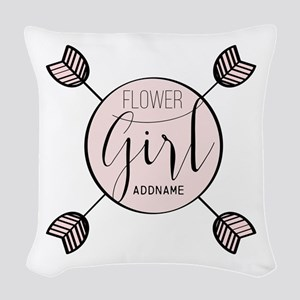 Flower Girl Personalized Woven Throw Pillow