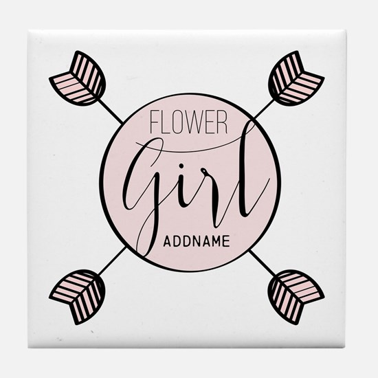 Flower Girl Personalized Tile Coaster