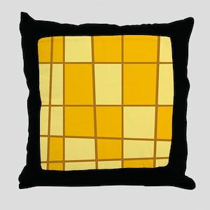 Yellow Grid Throw Pillow