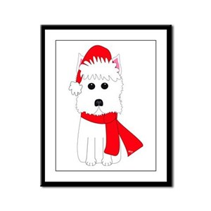 Holiday Westie Framed Panel Print