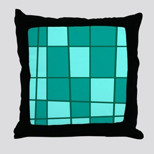 Aqua Grid Throw Pillow