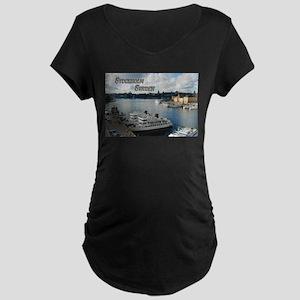 Stockholm Sweden Harbor Travel Maternity T-Shirt