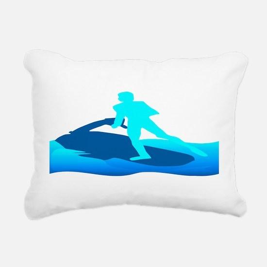 Jet Skier Blue Rectangular Canvas Pillow