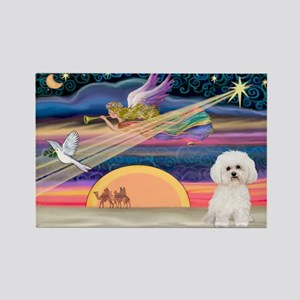Xmas Star & Bichon Rectangle Magnet