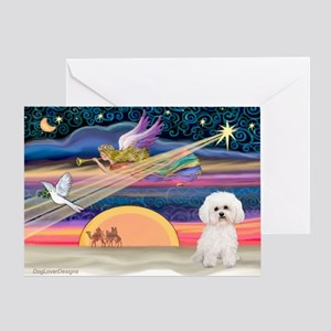 Xmas Star & Bichon Greeting Card