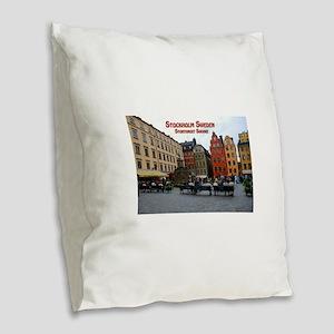 Stortorget Square - Stockholm Sweden Burlap Throw