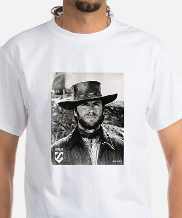 Clint Eastwood Black and White White T-Shirt