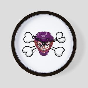 Hockey Skull & Crossbones Wall Clock