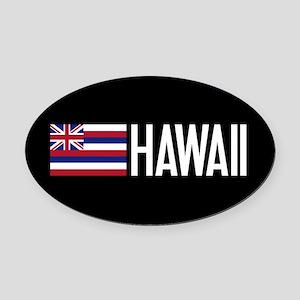 Hawaii: Hawaiin Flag & Hawaii Oval Car Magnet