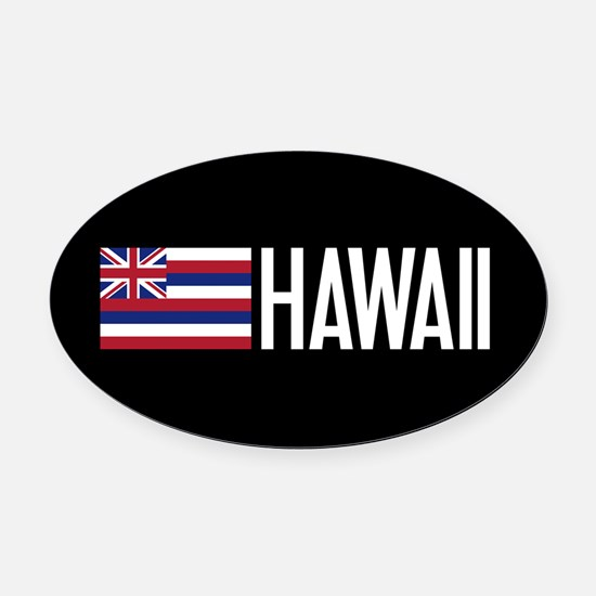 Hawaii: Hawaiin Flag & Hawaii Oval Car Magnet