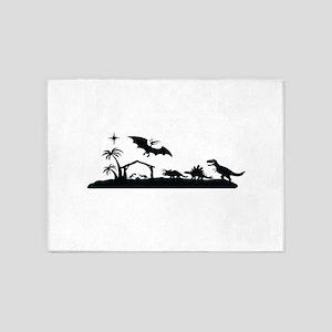 Dinosaur nativity christmas 5'x7'Area Rug