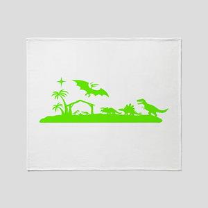 Dinosaur nativity Christmas Throw Blanket