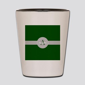 Dark Green Gray Monogram Personalized Shot Glass