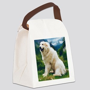 Great Pyrenees Nousty Draw String Canvas Lunch Bag