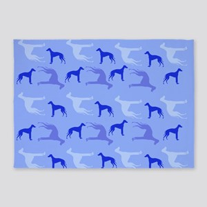 Blue Greyhounds 5'x7'Area Rug