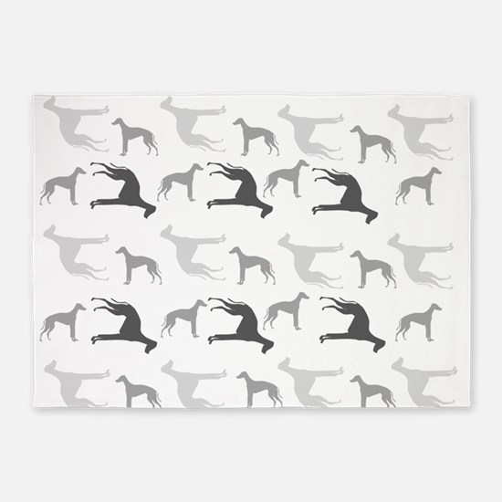 Greyhounds Pattern 5'x7'Area Rug