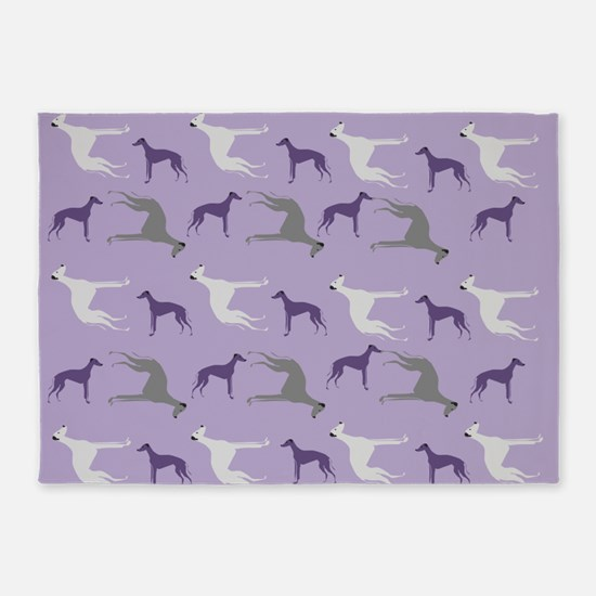 Greyhounds on Purple 5'x7'Area Rug