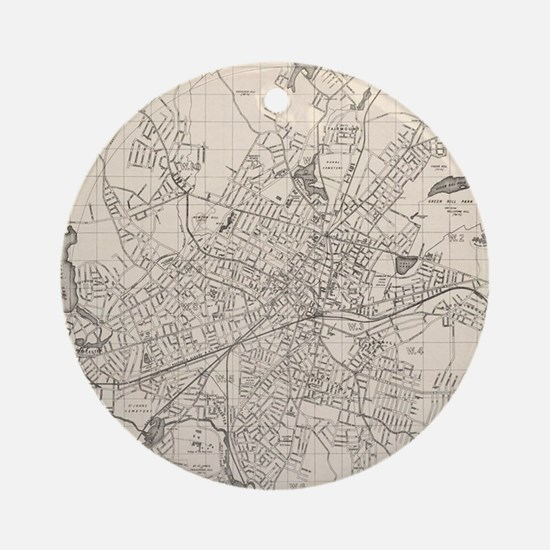 Vintage Map of Worcester Massachuse Round Ornament