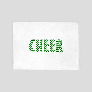 Green Chevron Cheer 5'x7'Area Rug