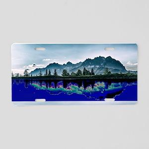 Glitch Mountains Aluminum License Plate