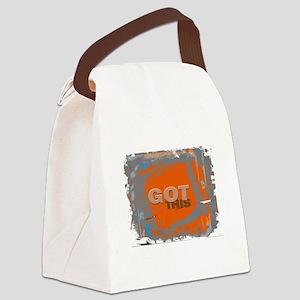 GOT THIS Orange Blue Gray Canvas Lunch Bag