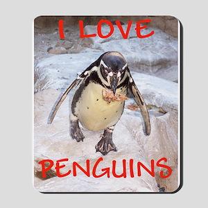 """""""I Love Penquins"""" Mousepad"""