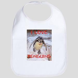 """""""i love penquins"""" bib"""