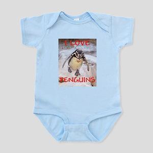 """I LOVE PENGUINS"" Infant Creeper"