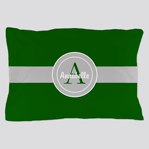 Dark Green Gray Monogram Personalized Pillow Case