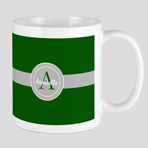 Dark Green Gray Monogram Personalized Mugs