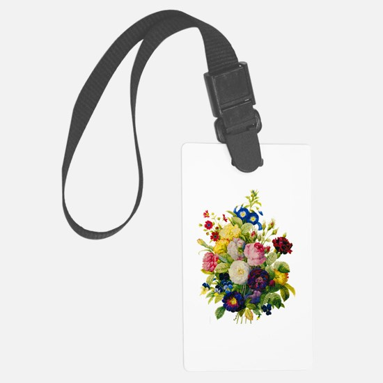 Redoute Summer Rose Bouquet Luggage Tag