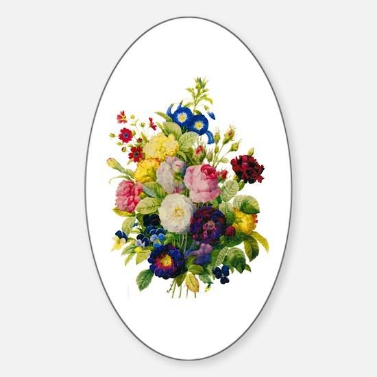 Redoute Summer Rose Bouquet Sticker (Oval)