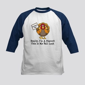 No Turkey Here Thanksgiving Kids Baseball Jersey