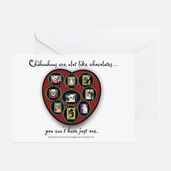 Chihuahuas - like chocolates Greeting Cards (Pk of