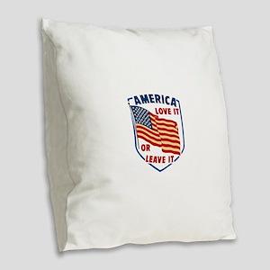 America Love it Burlap Throw Pillow