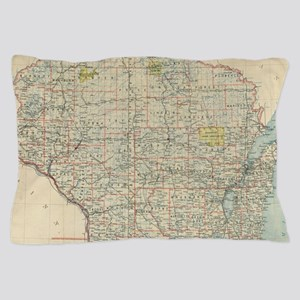 Vintage Map of Wisconsin (1895) Pillow Case