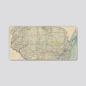 Vintage Map of Wisconsin (1 Aluminum License Plate
