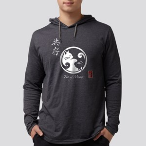 Yin Yang Cats Women's Long Sleeve Black T-Shirt Lo
