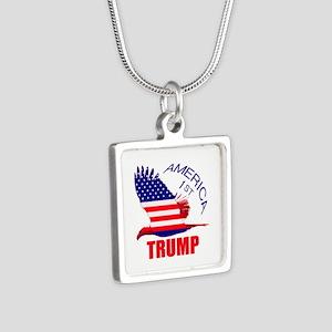 Trump America First Eagle Silver Square Necklace