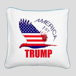 Trump America First Eagle Square Canvas Pillow