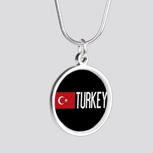 Turkey: Turkish Flag & Turke Silver Round Necklace