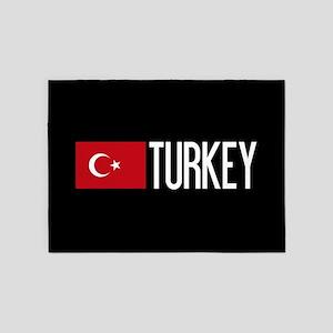 Turkey: Turkish Flag & Turkey 5'x7'Area Rug