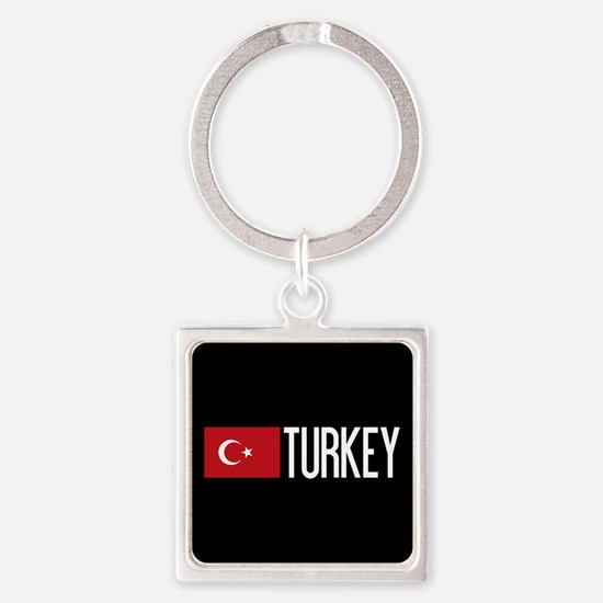 Turkey: Turkish Flag & Turkey Square Keychain