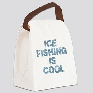 Ice Fishing is Cool - Blue Canvas Lunch Bag