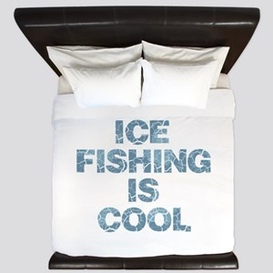 Ice Fishing is Cool - Blue King Duvet