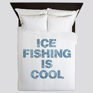 Ice Fishing is Cool - Blue Queen Duvet