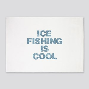 Ice Fishing is Cool - Blue 5'x7'Area Rug