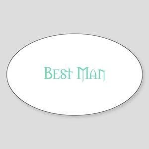 Best Man - Pale Green Oval Sticker