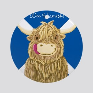 Wee Hamish Highland Cow (Saltire) Round Ornament