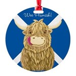 Wee Hamish Highland Cow (Saltire) Ornament